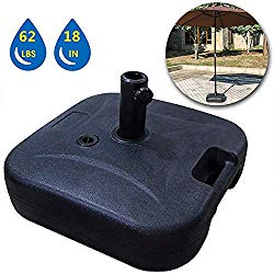 LOKATSE HOME 18″ Square Outdoor Patio Market Stand Heavy Duty-Water Filled 62 lbs, Umbrella Base(Black)