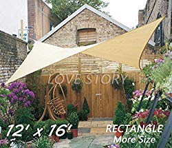 Love Story 12′ x 16′ Rectangle Sand Sun Shade Sail Canopy UV Block Awning for Outdoor Patio Garden Backyard