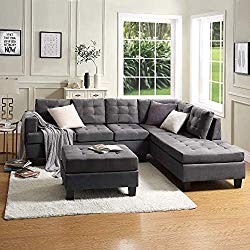 Lovorsofat Green Grey Sofa Sectional 3-Piece Sofa Sets with Chaise Lounge and Ottoman Sofa and Couches for Living Room