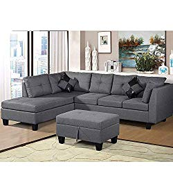 Lovorsofat L-Shaped 3 Piece Sectional Sofa Set with with Ottoman and Chaise Lounge, Grey Linen Fabric