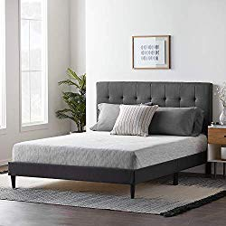 LUCID Upholstered Bed withSquare TuftedHeadboard-Linen Inspired Fabric -Sturdy Wood Build -No Box Spring Required Platform, Queen, Charcoal