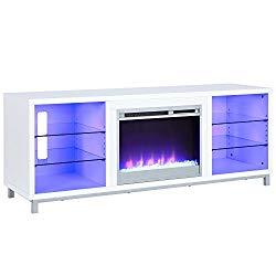 Lumina Fireplace TV Stand for TVs upto 70″, White