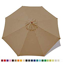 MASTERCANOPY (30+ Colors Replacement Market Umbrella Canopy for 9ft 8 Ribs (Canopy Only) (Khaki)