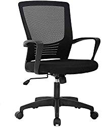 Mid Back Desk Mesh Computer Ergonomic Office Chair Executive Rolling Swivel Adjustable Task Chairs with Lumbar Support Armrest Black