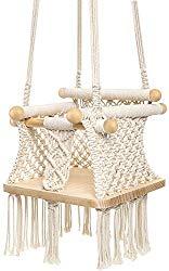 Mkono Baby Swing Hanging Chair Handmade Macrame Cotton Beige Wooden Background Indoor Outdoor Infant Swing Seat,Toddler HammockSwing,Boho Nursery Decor