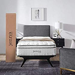 Modway Jenna 10″ Quilted Pillow Top Twin Individually Encased Coil Innerspring Mattress