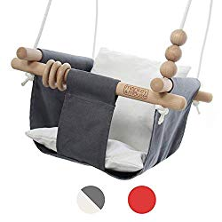 Monkey & Mouse Secure Canvas and Wooden Hanging Swing Seat Chair with a Baby, Infant, Toddler, Kids Toys – Indoor and Outdoor Hammock, for Tree Swings or Backyard Outside Swing Set Use (Grey & White)