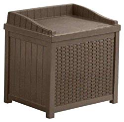 Moon_Daughter Outdoor Deck Bench Brown Storage Box Patio Garden Pool Resin Gallon Decorative Yard Seat