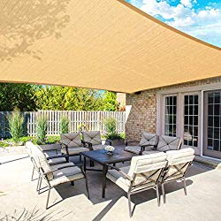 MOVTOTOP Sun Shade Sails 10×13 FT Rectangle, 185 GSM Thicker Outdoor Shade Block 95% UV Keep Cool for Deck, Patio, Pergola, Backyard Outdoor(Sand)