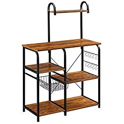 Mr IRONSTONE Vintage Kitchen Baker's Rack Utility Storage Shelf 35.5″ Microwave Stand 4-Tier+3-Tier Shelf for Spice Rack Organizer Workstation with 10 Hooks
