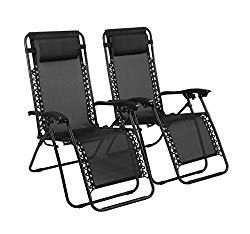 Naomi Home Zero Gravity Lounge Patio Outdoor Recliner Chairs Black/Set of 2