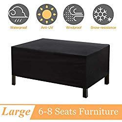 NASUM Patio Furniture Cover,71x47x29inch,420D Rectangular Patio Table Cover, Patio Table, and Chair Covers, Tear-Resistant, Durable Waterproof Dustproof Outdoor Cover for Garden