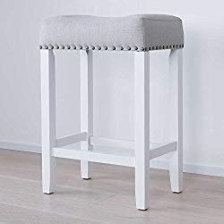 Nathan James 21301 Hylie Nailhead Wood Pub-Height Kitchen Counter Bar Stool 24″, Gray/White