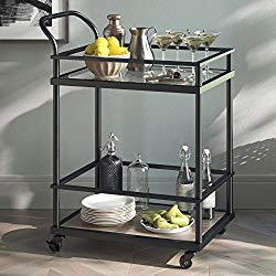Nathan James Carter Rolling Bar and Serving Cart 2-Tiered Glass and Metal, Black