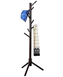Neasyth Kid's Wooden Coat Rack, Free Standing Tree Hanger 8 Hooks Organizer Furniture in Living Room, Bedroom, Entryway for Hat, Scarves, Satchel, Umbrella Etc. Easy Assembly (Coffe)