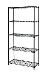 New 5 Tier Wire Shelving Unit NSF Metal Shelf Rack 1250a LBS Capacity 14″x36″x72″ & Black
