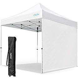 Ohuhu EZ Pop-Up Canopy Tent with Sidewall, 10 X 10 FT Sturdy Commercial Instant Shelter with Removal Side Wall for More Shade, 4 Adjustable Height & Wheeled Carrying Bag, White