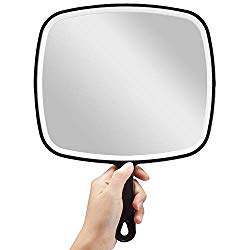 OMIRO Hand Mirror, Extra Large Black Handheld Mirror with Handle, 9″ W x 12.4″ L