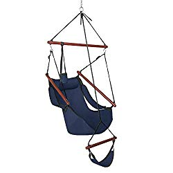ONCLOUD Upgraded Unique Hammock Sky Chair, Air Deluxe Hanging Swing Seat with Rope Through The Bars Safer Relax with Drink Holder & Fuller Pillow Solid Wood Indoor Outdoor Patio Yard 250LBS (Blue)