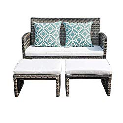 Orange Casual 3 Pieces Outdoor Wicker Loveseat Sofa Furniture Set with Ottoman Cushioned Seat Lounge Chair Couch for Patio, Backyard, Poolside