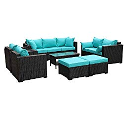 Outdoor PE Wicker Furniture Set -7 Pcs Patio Garden Conversation Cushioned Seat Couch Sofa Chair Set-Turquoise Cushion