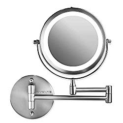 Ovente Wall Mounted Vanity Makeup Mirror 7 Inch with 10X Magnification and LED Light, 360 Degree Swivel Rotation with Distortion Free View, 4 AAA Batteries Operated, Polished Chrome (MFW70CH1X10X)