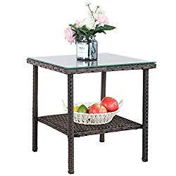 Patio Side Table Storage Outdoor PE Wicker Brown Rattan Tables Storage Patio Furniture Garden Deck Pool Glass Top Tea Table Metal-Brown