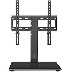 PERLESMITH Universal Swivel TV Stand – Table Top TV Stand for 26-55 Inch LCD LED TVs – Height Adjustable TV Mount Stand with Tempered Glass Base, VESA 400x400mm, Holds Up to 88lbs