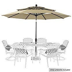PHI VILLA 10ft Patio Umbrella Outdoor 3 Tier Vented Table Umbrella with 8 Sturdy Ribs (Beige)