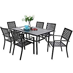 PHIVILLA 7 Piece Metal Outdoor Patio Dining Bistro Sets with Umbrella Hole – 60″ x 37.8″ Rectangle Patio Table and 6 Backyard Garden Outdoor Chairs, Black