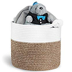 Polarduck Cotton Rope Basket 13″ x 12″ x 11″, Baby Laundry Basket, Laundry Hamper, Woven Blanket Basket, Nursery Bin Organizer, Toys Storage Basket with Lucky Knots Handle, (Natural White & Jute)