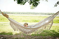 RISEON Handmade Boho Large Brazilian Macrame Fringe 2 Person Double Deluxe Hammock Swing Net Chair for Beach, Yard, Bedroom, Patio, Porch, Indoor, Outdoor, Wedding Decor 95″ Lx 59″ W