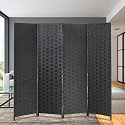 Room Divider Wood Screen 4 Panel Wood Mesh Woven Design Room Screen Divider Folding Portable Partition Screen Screen Wood for Home Office (Black)