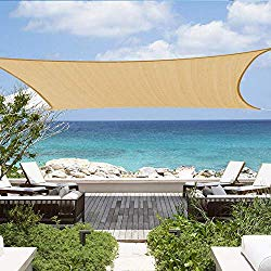 Shade&Beyond Sun Canopy Shade Sail 12'x16′ Rectangle UV Block for Patio Deck Yard and Outdoor Activities Sand