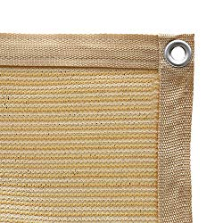 Shatex 90% Shade Fabric Sun Shade Cloth with Grommets for Pergola Cover Canopy 8′ x 12′, Wheat