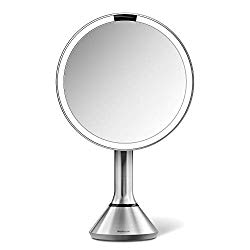 simplehuman Sensor Lighted Makeup Vanity Mirror, 8″ Round with Touch-Control Brightness, 5X Magnification, Brushed Stainless Steel, Rechargeable and Cordless