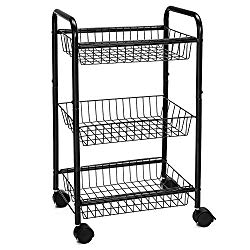 SONGMICS 3-Tire Metal Rolling Cart On Wheels with Baskets, Lockable Utility Trolley with Handles for Kitchen Bathroom Closet, Storage with Removable Shelves UBSC03BK