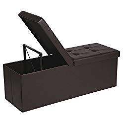 SONGMICS 43 Inches Folding Storage Ottoman Bench with Flipping Lid, Storage Chest Footrest Padded Seat with Iron Frame Support, Brown ULSF75BR