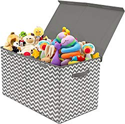 Sorbus Toy Chest with Flip-Top Lid, Kids Collapsible Storage for Nursery, Playroom, Closet, Home Organization, Large (Pattern – Chevron Gray)