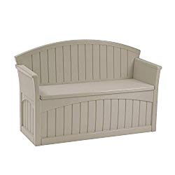Suncast 50 Gallon Patio Bench with Storage – Decorative Resin Outdoor Patio Bench for Deck, Patio, Garden, Backyard – Ideal for Storing Toys, Cushions, Tools – Taupe