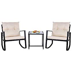 SUNLEI Outdoor 3-Piece Rocking Bistro Set Black Wicker Furniture-Two Chairs with Glass Coffee Table (Beige Cushion)