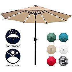 Sunnyglade 9′ Solar 24 LED Lighted Patio Umbrella with 8 Ribs/Tilt Adjustment and Crank Lift System (Light Tan)