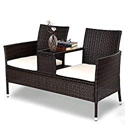Tangkula Outdoor Furniture Set Patio Conversation Set with Removable Cushions & Table Wicker Modern Sofas for Garden Lawn Backyard Outdoor Chat Set (loveseat Style)