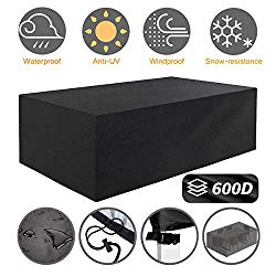 Tvird Patio Furniture Covers,Outdoor Furniture Covers Waterproof, 600D Heavy Duty Oxford Fabric,Table and Chair Patio Set Covers Windproof 95.27 x 63.77 x 39.37 in(Black)