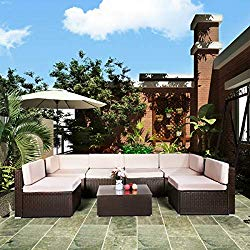 U-MAX 7 Piece Patio PE Rattan Wicker Sofa Set Outdoor Sectional Furniture Chair Set with Cushions and Tea Table, Brown