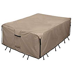 ULTCOVER Rectangular Patio Heavy Duty Table Cover – 600D Tough Canvas Waterproof Outdoor Dining Table and Chairs General Purpose Furniture Cover Size 88L x 62W x 28H inch