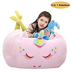 Unicorn Stuffed Animal Toy Storage, Bean Bag Cover 24×24 Inch Velvet Extra Soft Stuffie Organization Replace Mesh Toy Hammock for Kids Toys Blankets, Towels & Clothes Household Supplie