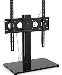 Universal TV Stand – Table Top TV Stand for 32-47 Inch LCD LED TVs – Height Adjustable TV Base Stand with Tempered Glass Base & Wire Management & Security Wire, Holds Up to 88lbs, VESA 400x400mm