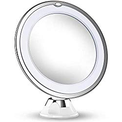 Updated 2020 Version 10X Magnifying Makeup Mirror With Lights, LED Lighted Portable Hand Cosmetic Magnification Light up Mirrors for Home Tabletop Bathroom