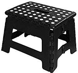 Utopia Home Foldable Step Stool for Kids – 11 Inches Wide and 9 Inches Tall – Black and White – Holds Up to 300 lbs – Lightweight Plastic Design